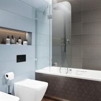 Шторка на ванну распашная, стекло 6мм