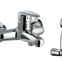 3302С PRAMEN Смеситель для ванны короткий излив, картридж 35 мм Чехия